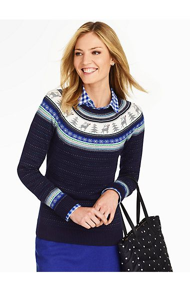 adorable for winter, love the plaid shirt under the sweater ...
