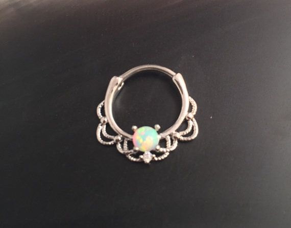 16 Gauge Steel Opal Lace Septum Clicker By Wotwjewelry On Etsy