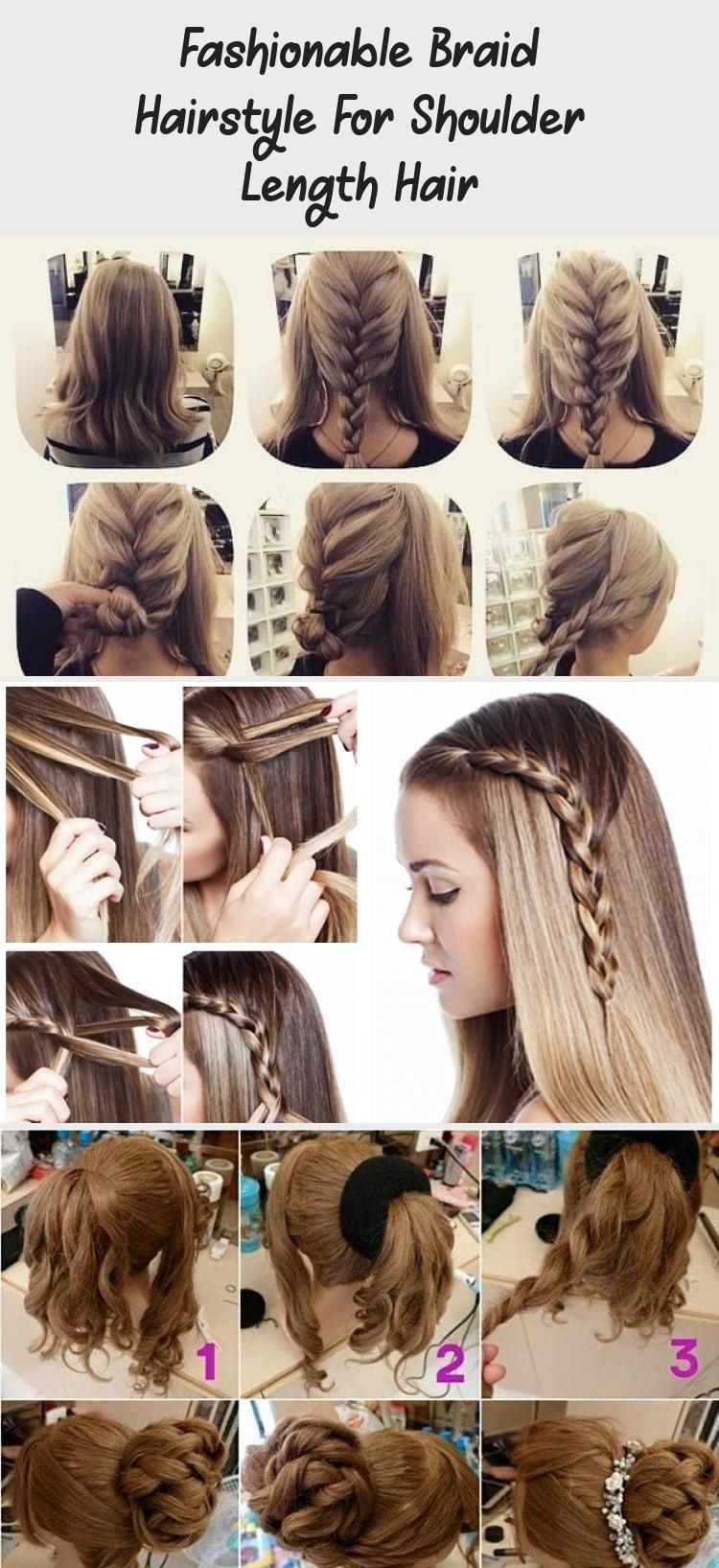 Fashionable Braid Hairstyle For Shoulder Length Hair Hairtutorialtiktok Promhairtutorial Hairtutorialsk In 2020 Braided Hairstyles Hair Lengths Shoulder Length Hair