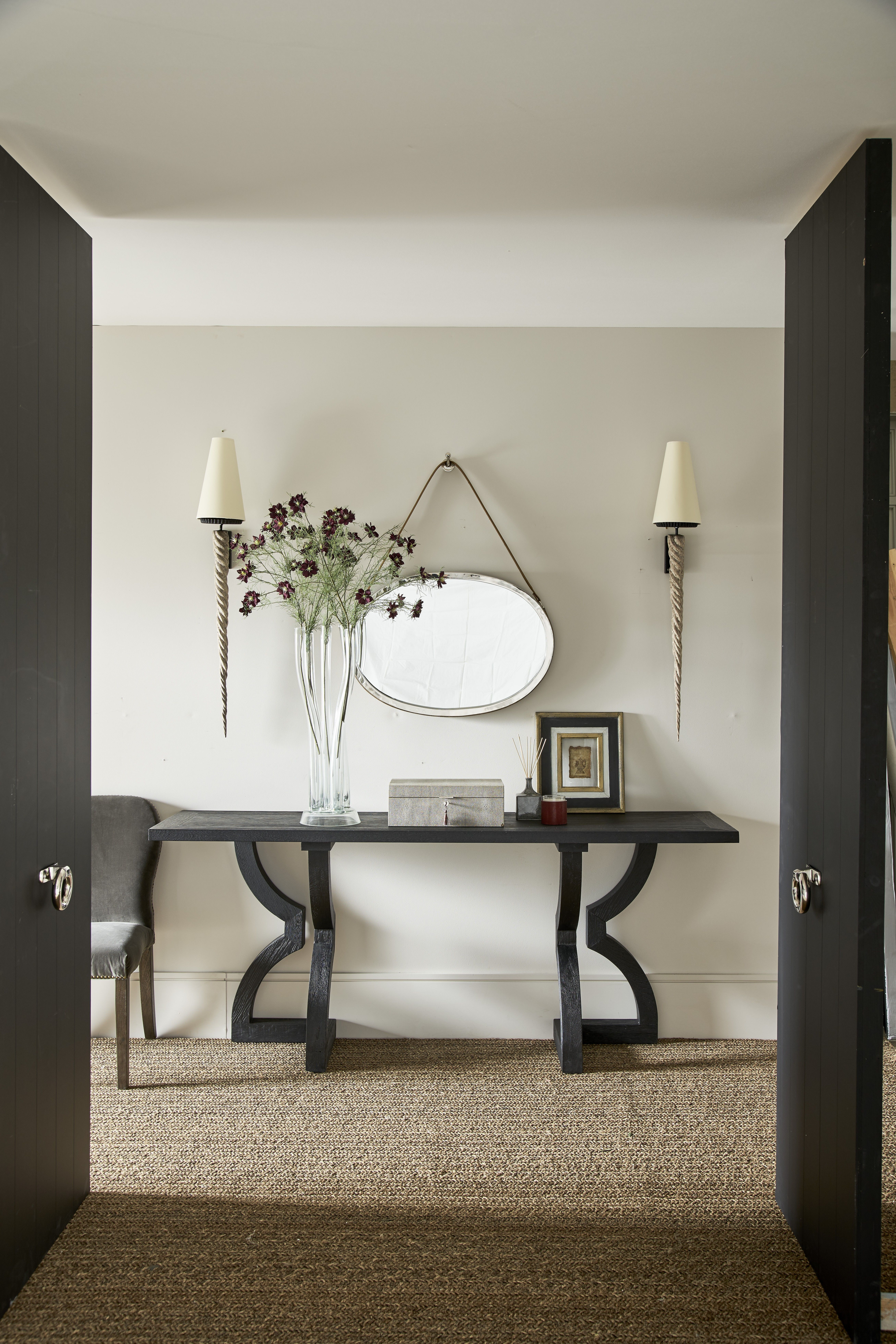 Hallway furniture with mirror  An unusually shaped theatrical console table that will add depth