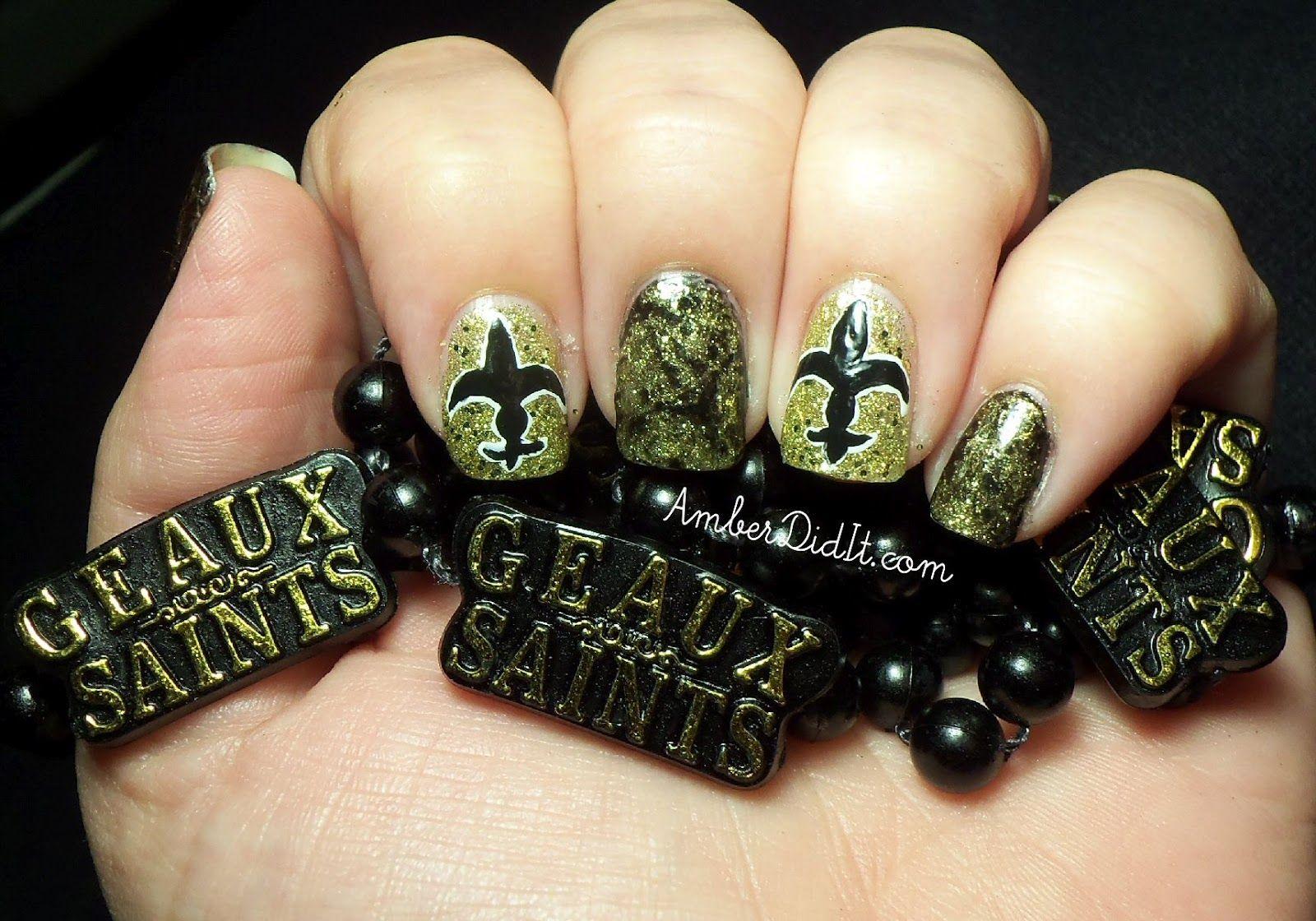 New Orleans Saints Nails | Nails by Amber | Pinterest | Saints nails ...