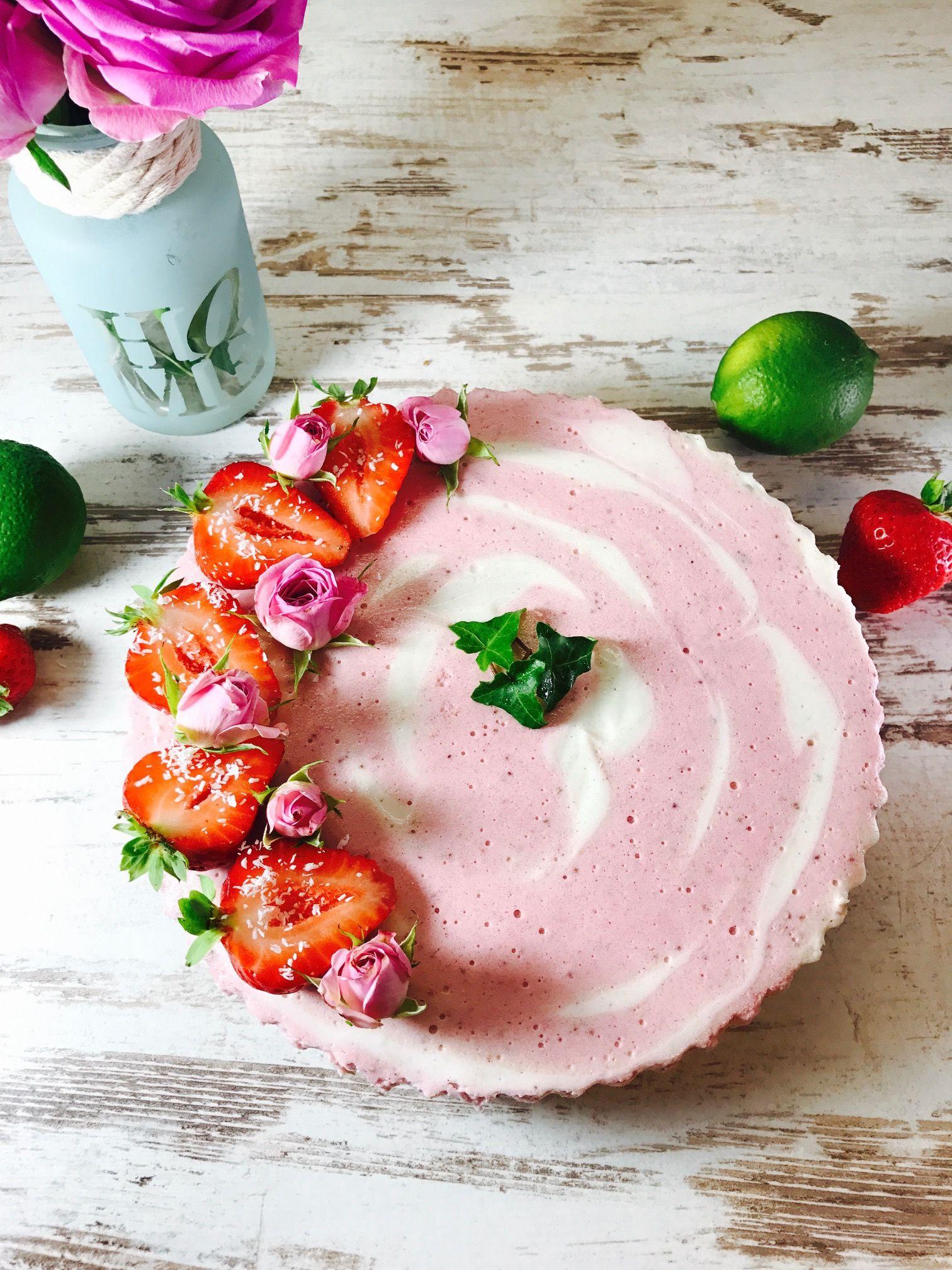 Erdbeer Quark Mandel Torte Ohne Backen Torte Ohne Backen Backen Ohne Zucker Lebensmittel Essen