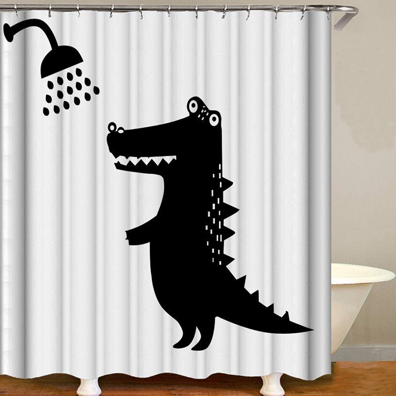 Black And White 3d Digital Printing Bathroom Waterproof Shower