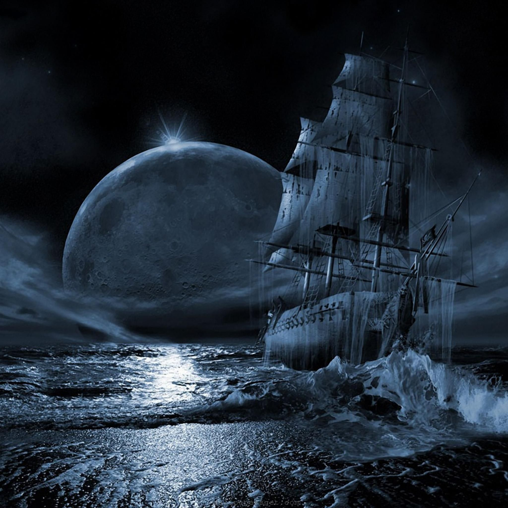 Frozen Ship near shore with a full moon on background