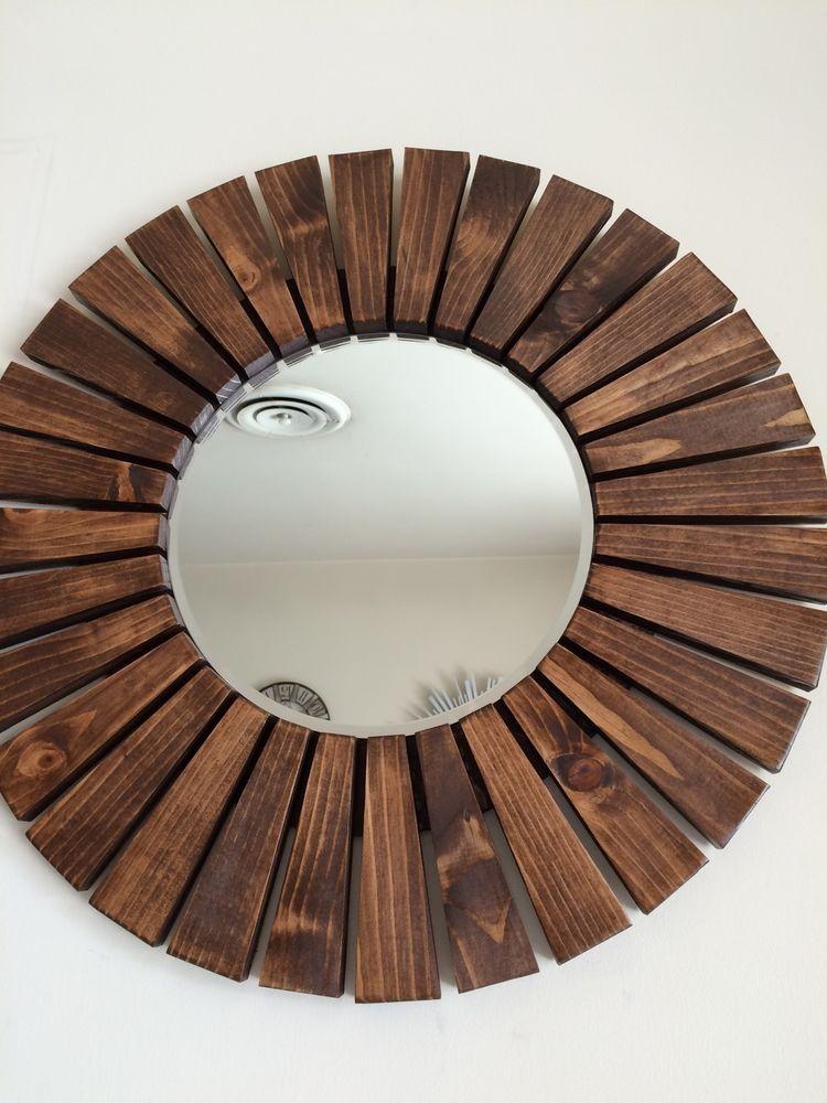 Handmade Special Walnut Round Sunburst Wall Mirror Wood Frame Mirror Frame Diy Wood Wall Mirror Wood Framed Mirror