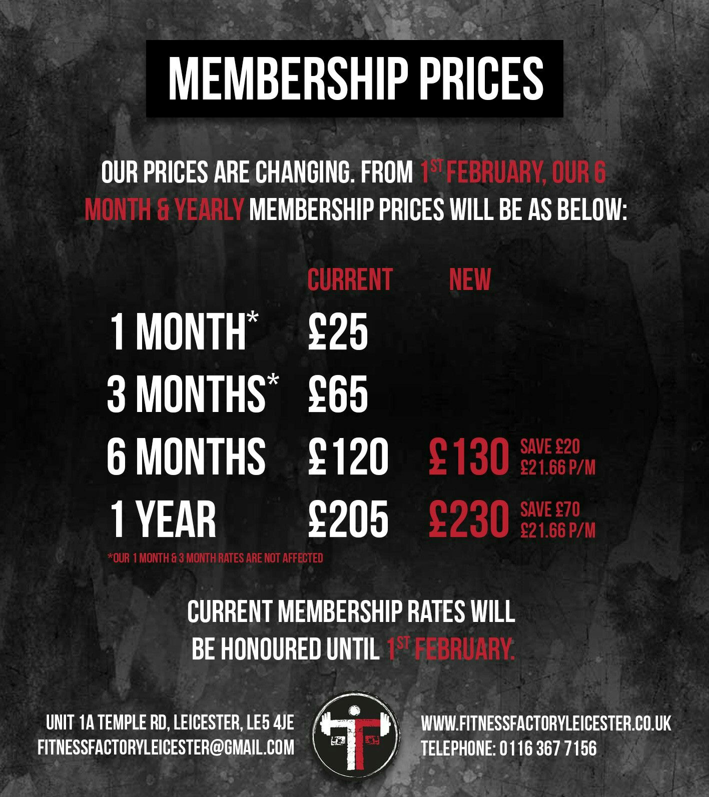 Membership price post for Fitness factory Leicester ...