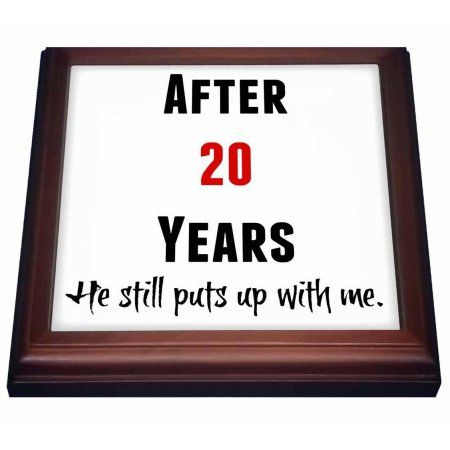 3dRose After 20 Years He Still Puts Up With Me, Black And Red Letters, Trivet with Ceramic Tile, 8 by 8-inch