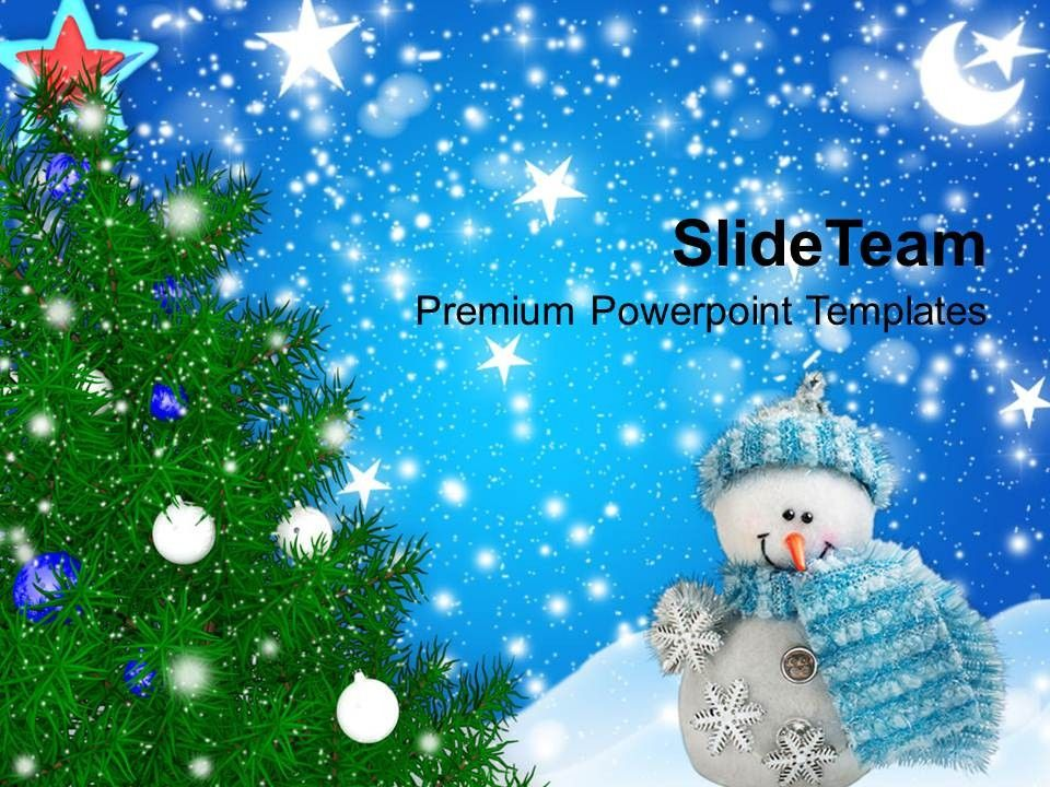winter powerpoint templates Background Tree With Filigrees - winter powerpoint template