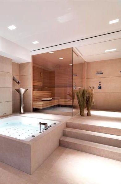 Modern bathroom space. Luxurious living