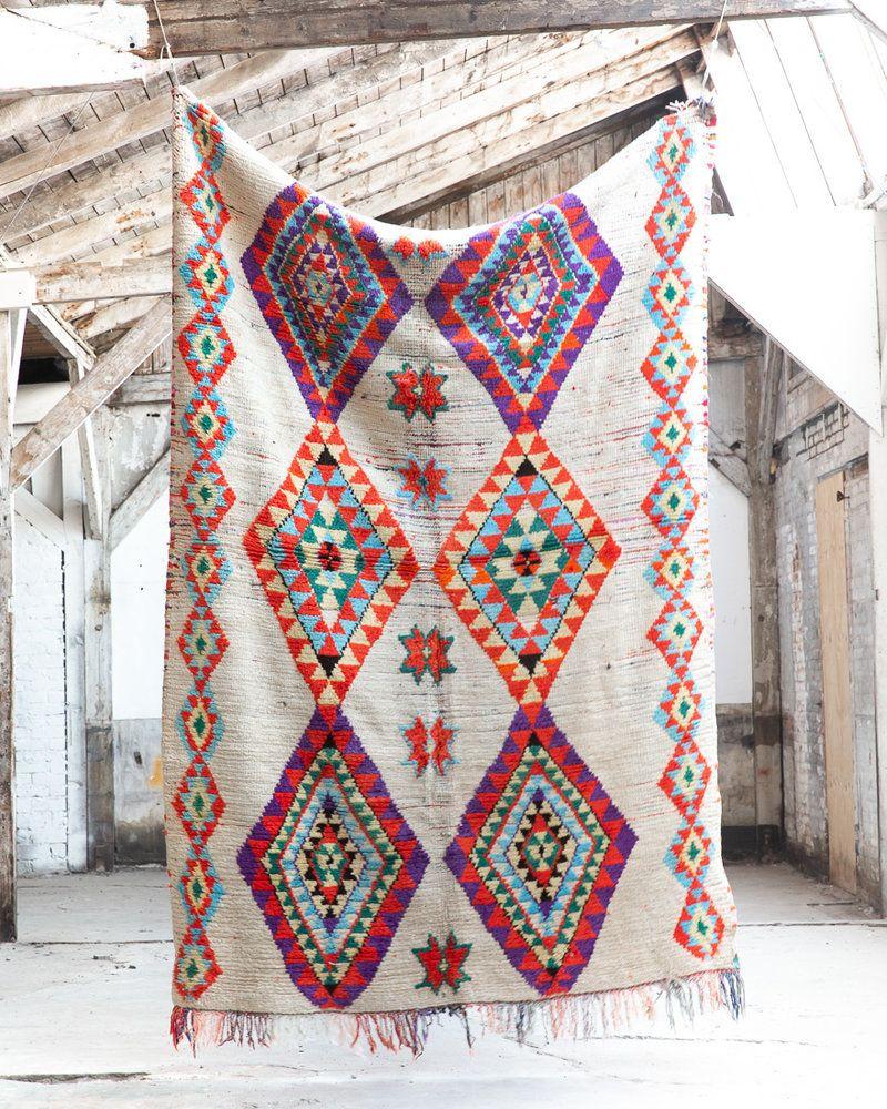 Azilal Vloerkleed Vintage Beige Met Kleur The Souks Quilt Teppich Bolia