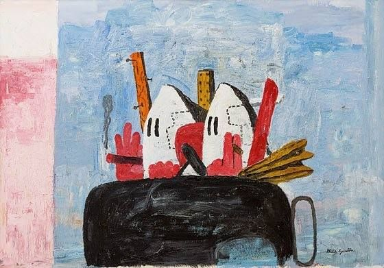 """PHILIP GUSTON, """"Edge of Town,"""" oil on canvas; 77 by 110 1/4 in."""