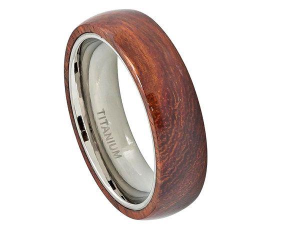 modern hawaiina koa wood inlay titanium wedding ring wooden jewelry gift for man - Wood Wedding Rings For Men
