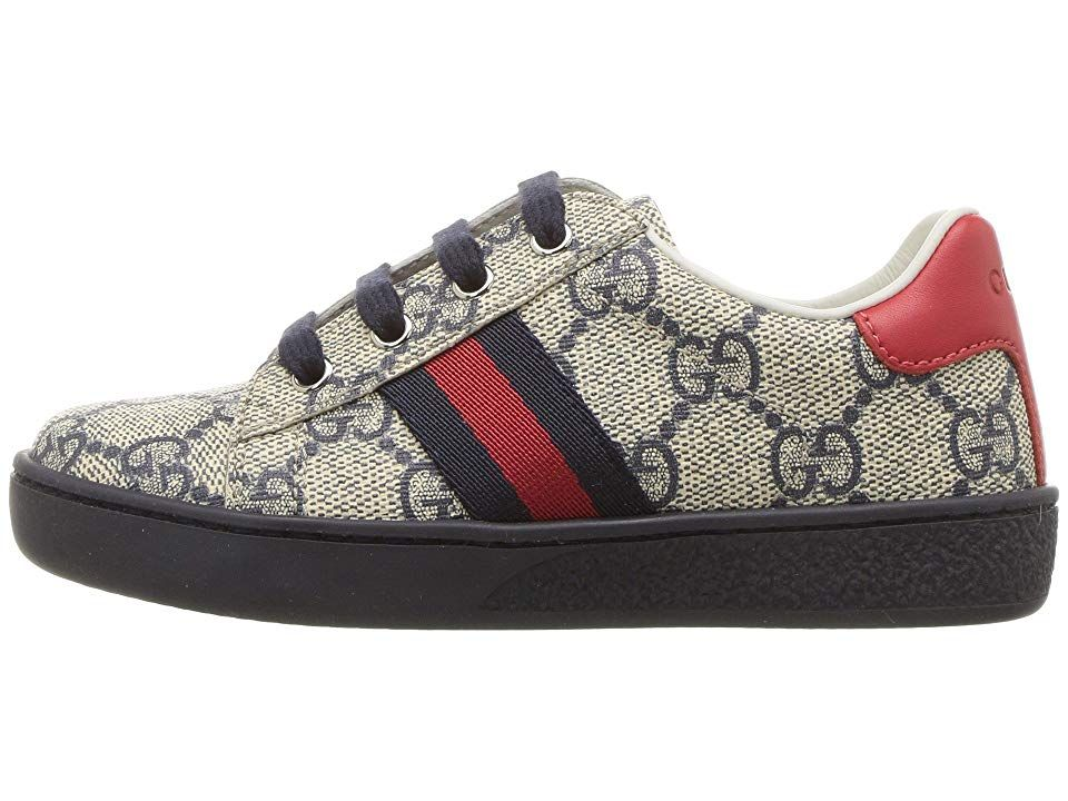 a5c6aae84c1 Gucci Kids GG Supreme Low-Top Sneaker (Toddler) Kids Shoes Beige Blue