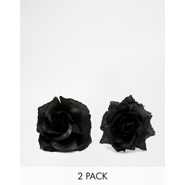 ASOS Pack of 2 Dark Night Rose Hair Clips (36.535 COP) ❤ liked on Polyvore featuring accessories, hair accessories, black, rose hair clip, black hair clips, asos hair accessories, hair clip accessories and rose hair accessories