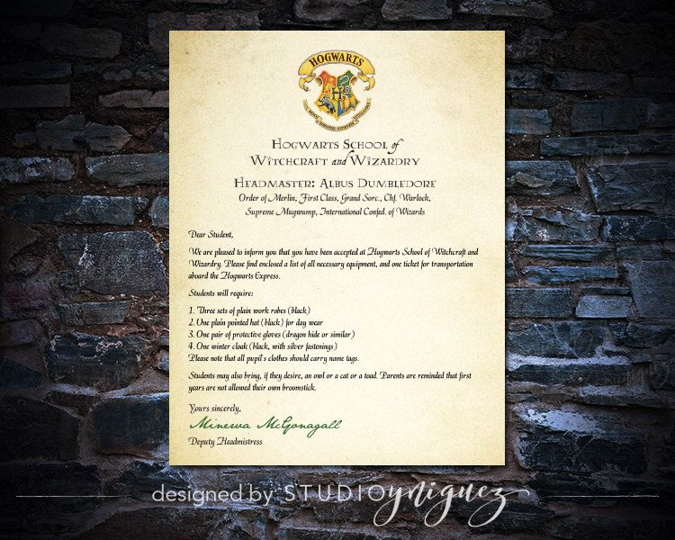 Printable Harry Potter Hogwarts Acceptance Letter, Instant - acceptance letters pdf