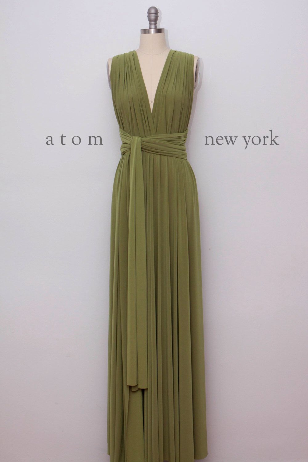 Olive green floor length ball gown long maxi infinity dress