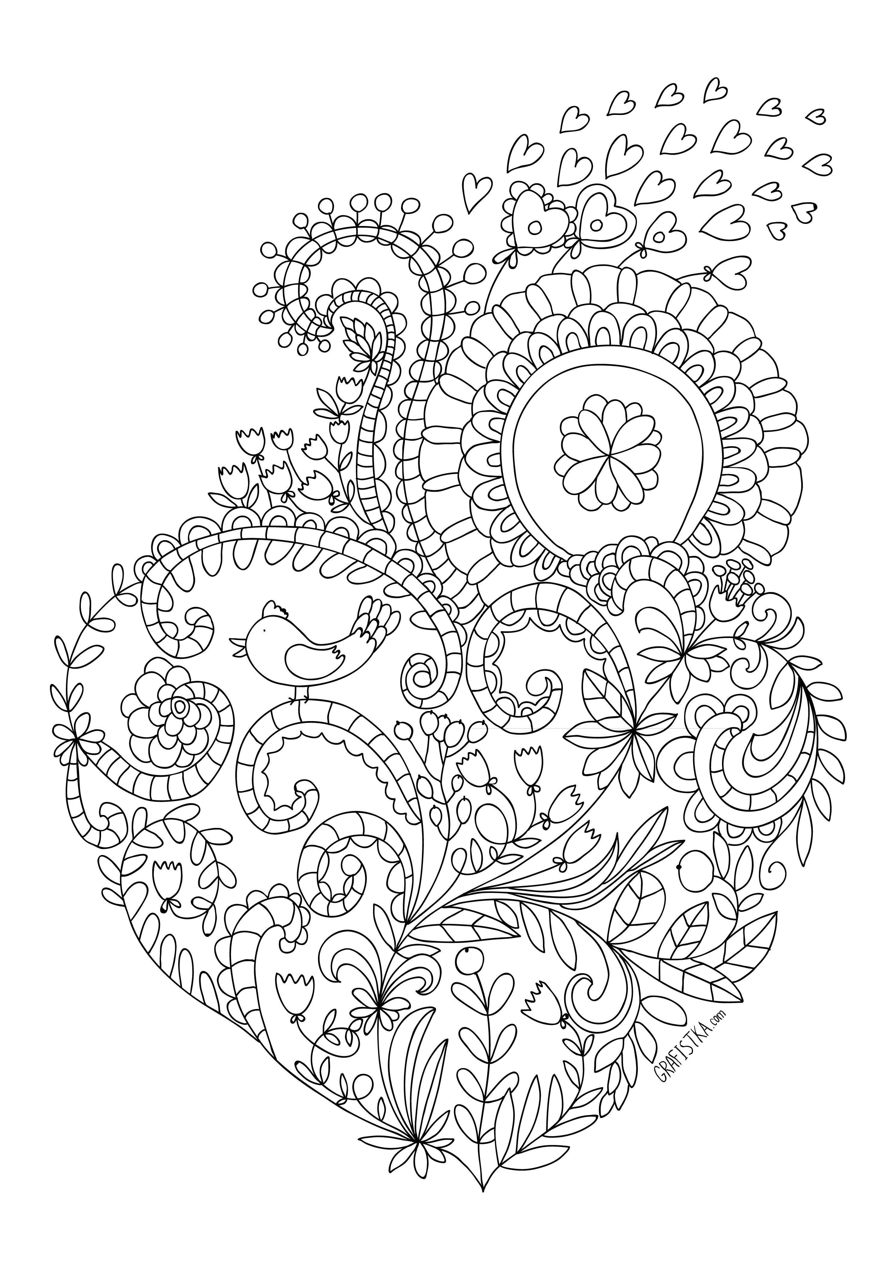 Раскраска любовь сердце с узором * Heart Hearts Coloring