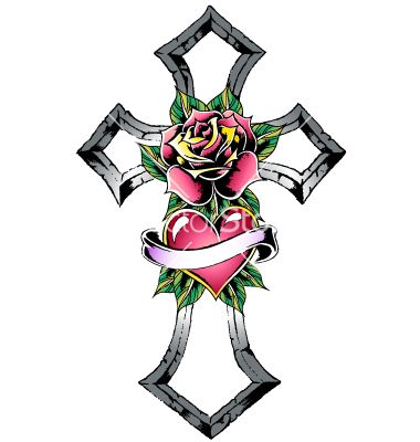Cross and rose design