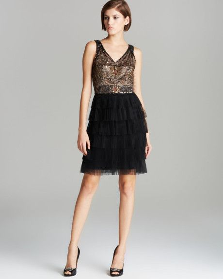 83510dc7545f4 Sue Wong Dress Embroidered Top Tiered Tulle Skirt in Gray (Black Cognac) -  Lyst