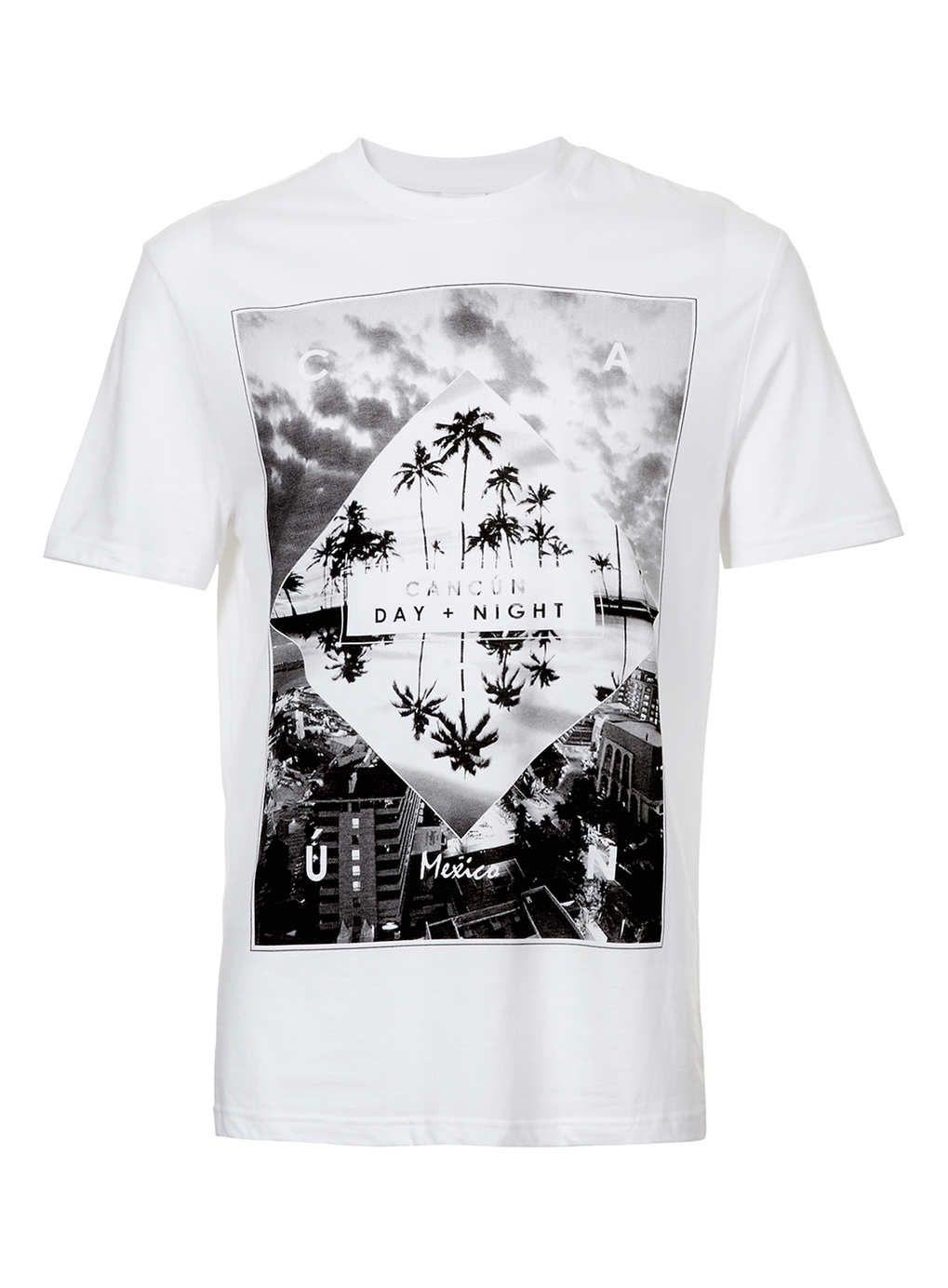 7b865ab2b2b4 White Cancun Print T-Shirt - Men's T-shirts & Tanks - Clothing - TOPMAN USA