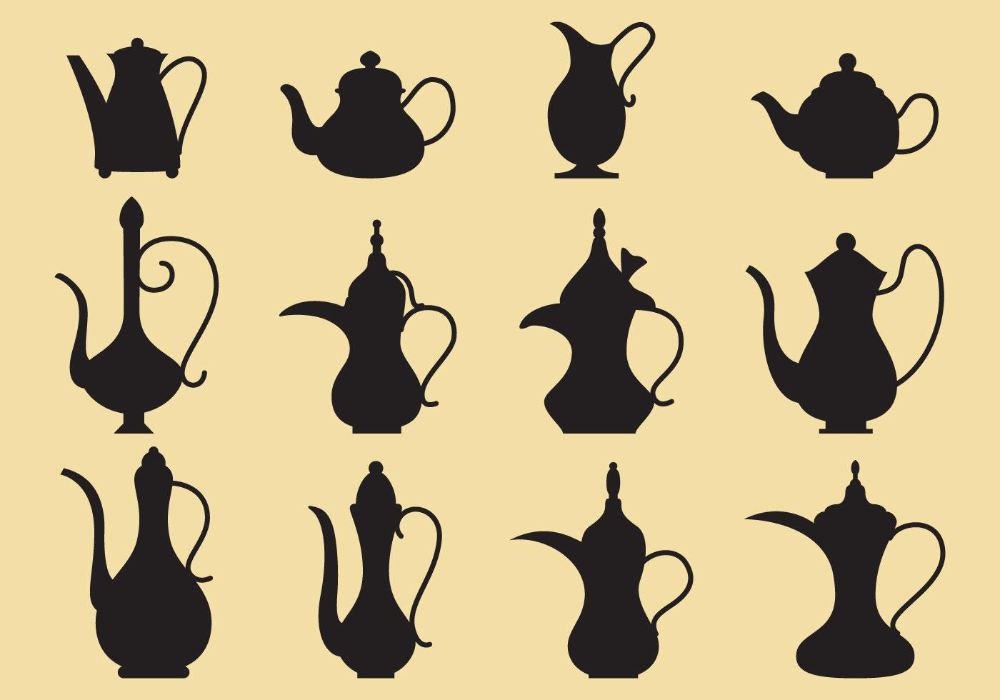 Coffee And Tea Pots Silhouettes in 2020 Tea pots vintage