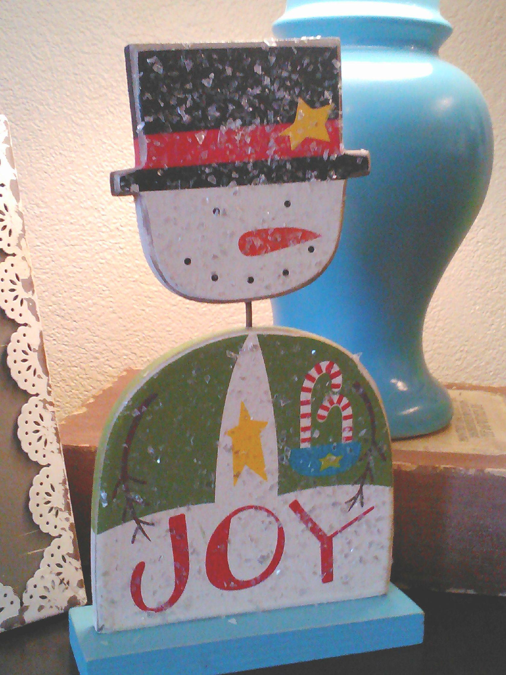 "Love this little guy - ""Joy"" snowman"