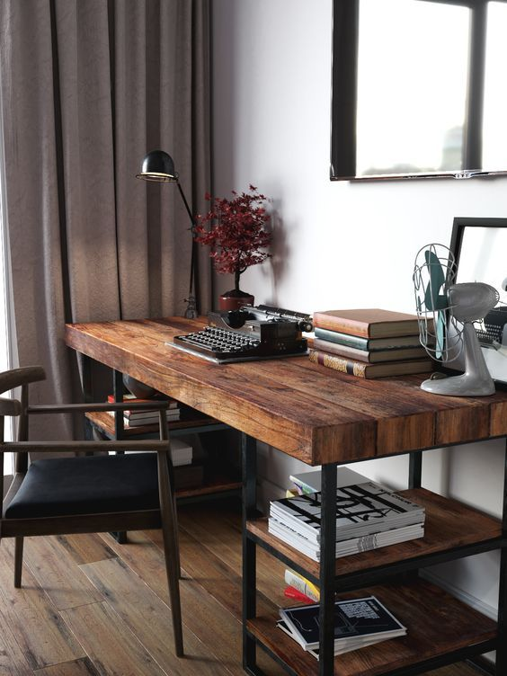 Industrial Study Room: A Cool Dark Stained Industrial Desk With Blackened Metal