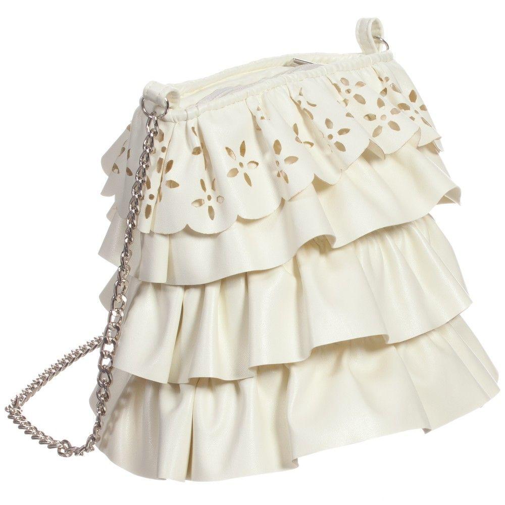 Girls Pale Yellow Ruffle Bag (17cm), Miss Blumarine, Girl