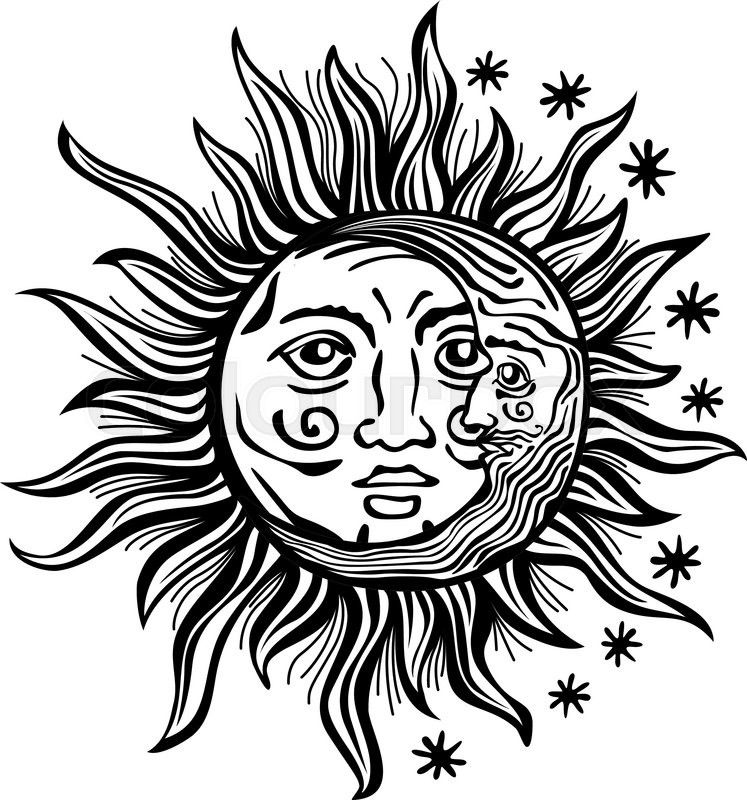 An etched-style cartoon illustration of a sun, moon, and