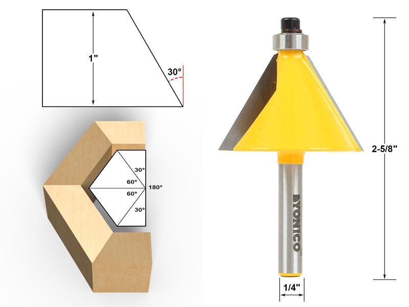 1//2 1//4 Shank 22.5 Degree Router Bit Chamfer Bevel Edging Woodworking Cutter