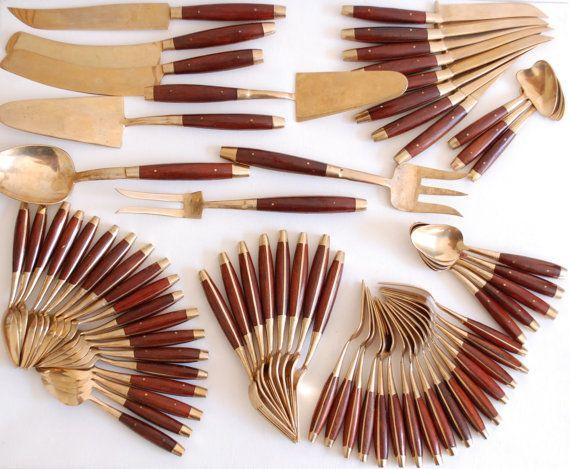 Teak and brass flatware 67 piece set thailand by atreasurehunt wedding pinterest - Thailand silverware ...