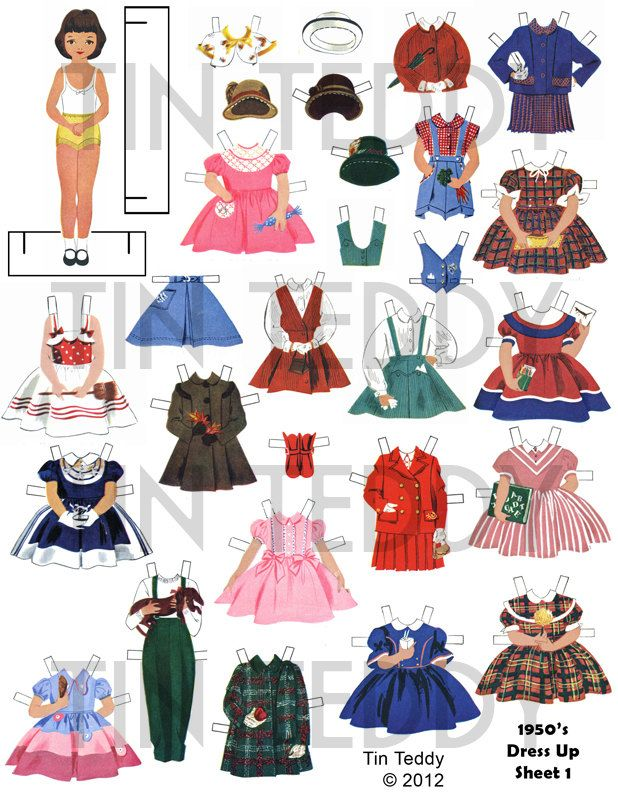 1950s Dress-Up Paper Dolls Digital Collage Sheets - Printable ...