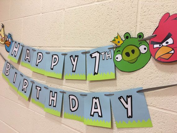 Angry Birds Birthday Banner Happy Birthday By Sweetpeabanners