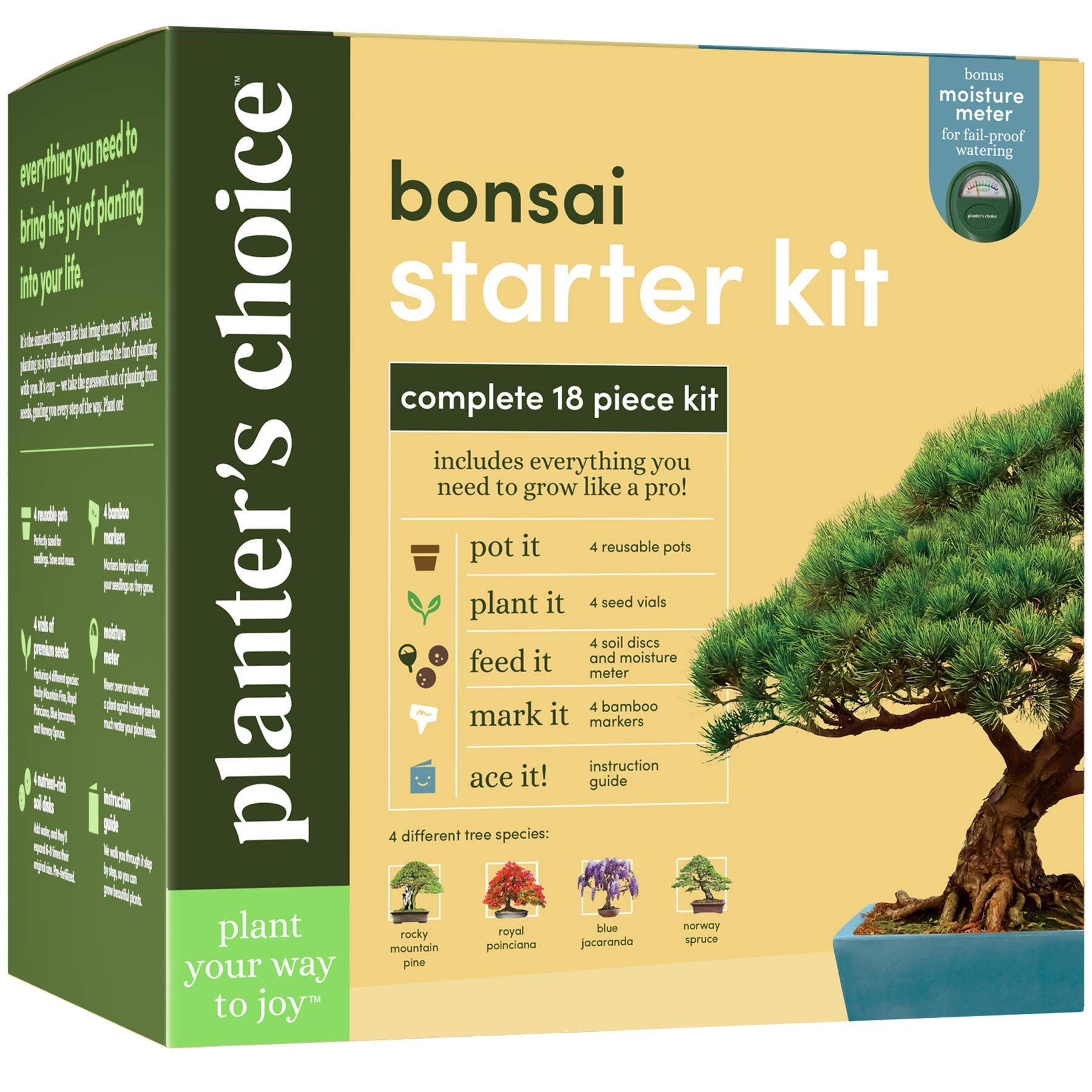 Bonsai Starter Kit The Complete Growing Kit To Easily Grow 4 Bonsai Trees From Seed Comprehensive Guide Andamp In 2020 Indoor Bonsai Tree Bonsai Tree Bonzai Tree