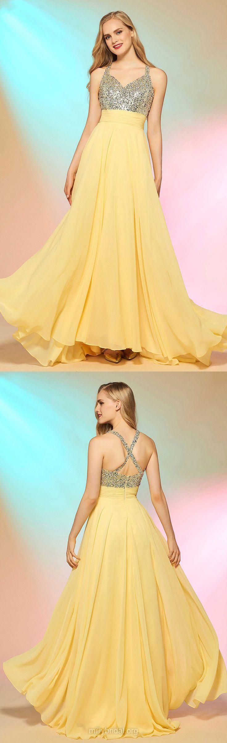 Yellow prom dresses long prom dresses aline prom dresses vneck