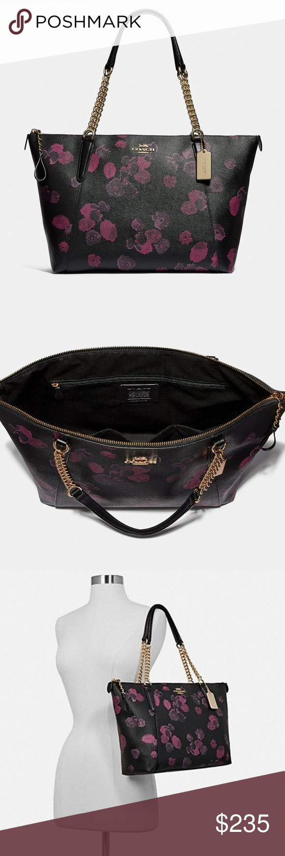fbfdf719f8c8 Coach Ava Chain Shoulder Bag ~ Halftone Floral New Coach Ava ~ Halftone  Floral BRAND NEW with Tags Printed coated canvas with smooth leather  details Inside ...