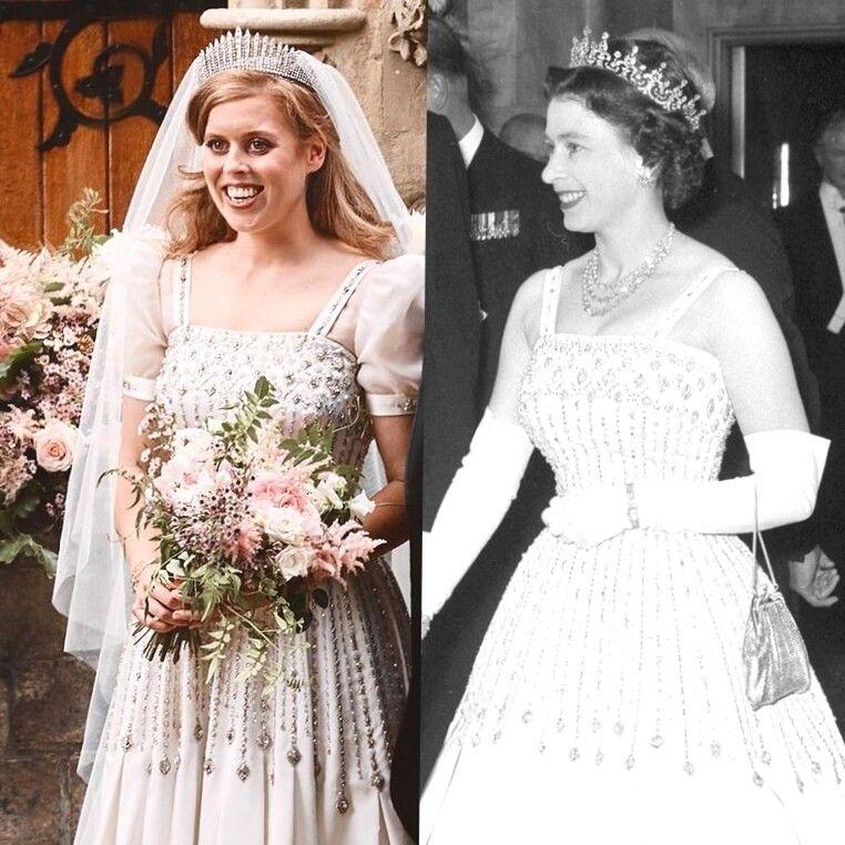 Wedding Of Princess Beatrice The Wedding Dress And The Tiara Were A Loan By Her Grandmoth Konigliche Hochzeitskleider Royale Hochzeiten Prinzessin Beatrice