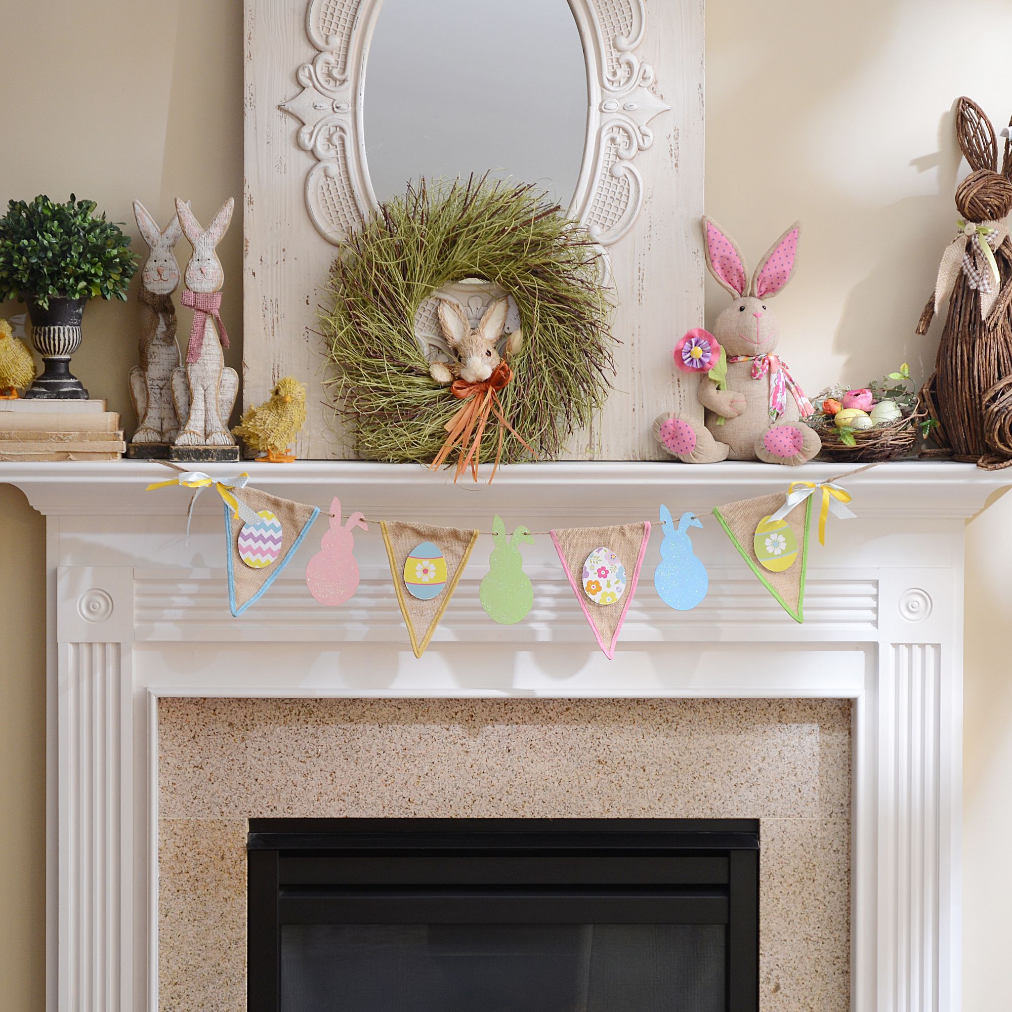 Decorate your entire mantlepiece with the joy of Easter! Add our Glittered Easter Bunny Burlap Pennant Banner to your home decor for a dash of homespun charm and a touch of sparkle!