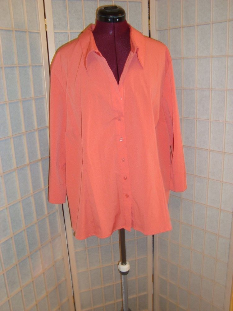 Fred David Sz 3X Stretch Button Down Shirt Princess Lines Beige or ...