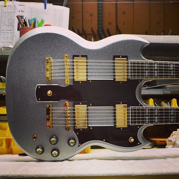 EDS-1275 Doubleneck in Silver Sparkle via @CustomGibson