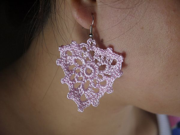Wedding Crochet Pink Lacy Earring Jewelry - Sexy Crochet Earring-Women Hip Hop Crochet earring Jewelry silver / Bronze E6034 $6.00