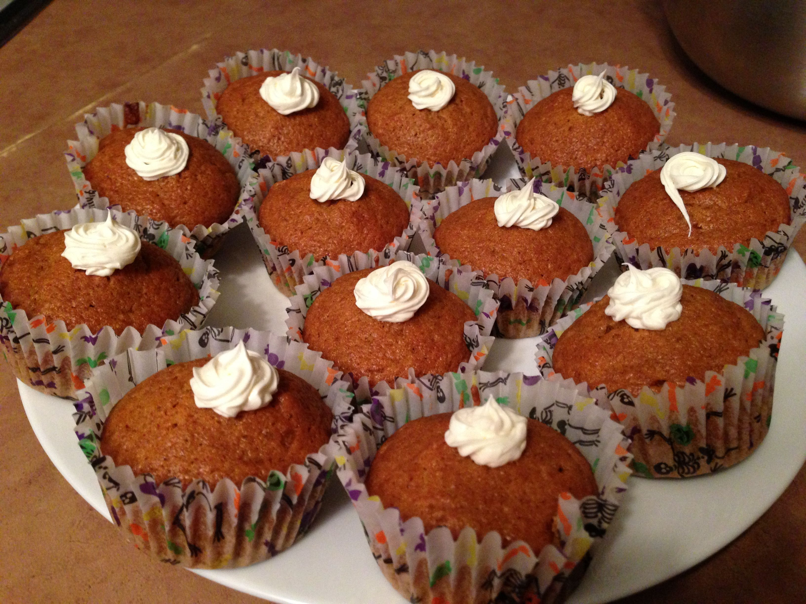 Pumpkin muffins with cream cheese icing!