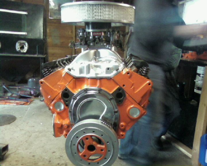 350 bored .30 over with dart cast iron heads and competition lifters and rockers and aluminum double roller edelbrock cam and crank