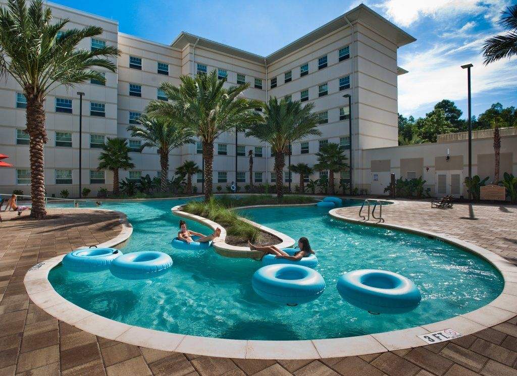unf is well known for its on campus lazy river that swoops around