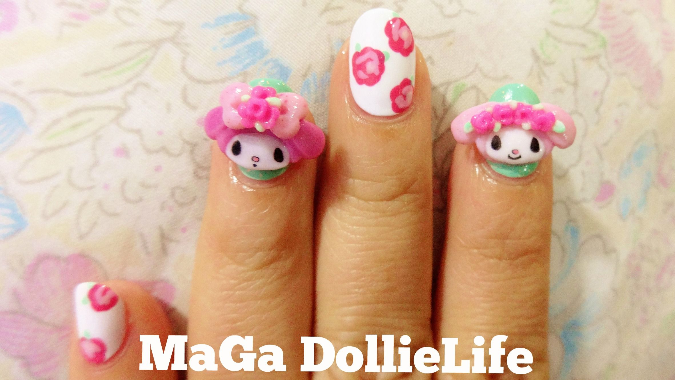My Melody X Liz Lisa Inspired 3d Nail Art D I Made The 3d Nail Art With Colored Acrylic Powder I Also Used Nail Polish And Ink Nail Art 3d Nail