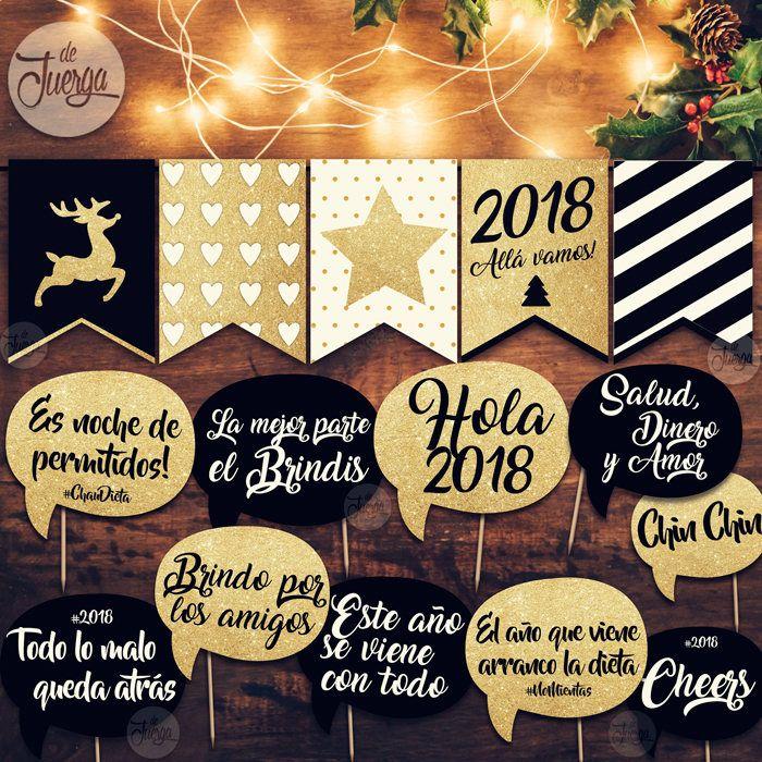 Photo Booth props y Banderin Navidad Imprimible. Año 2018 Glitter
