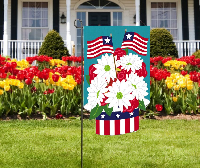 Patriotic Hat Burlap Garden Flags Add To Your 4th Of July Decorations