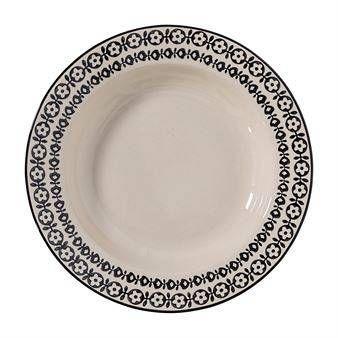 Bloomingville Julie syvä lautanen Ø 25 cm. Kaunis ajaton, sarjaan kuuluu myös muita. Mökkitunnelmaan sopiva.
