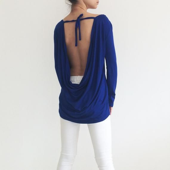 Backless Sweater Top Long Sleeve T Shirt Plus Size Sweater Etsy Blouses For Women Women Shirts Blouse Backless Sweater