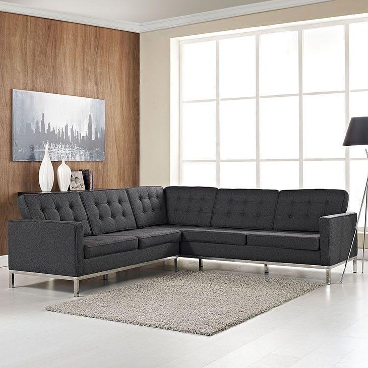 Mid Century Modern Sofa Rich Wool Upholstery Tubular Stainless
